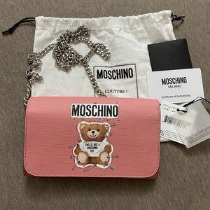 NWT Moschino Teddy Bear Pins Wallet on Chain Bag